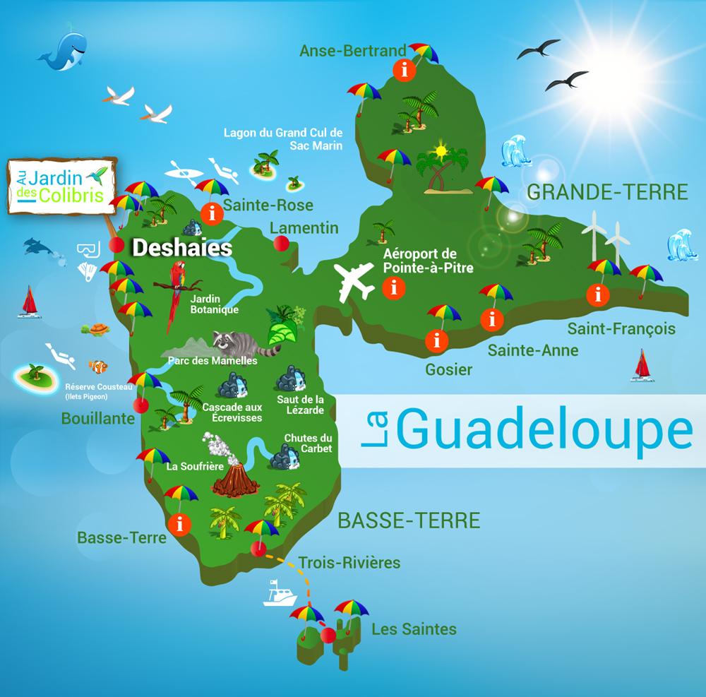 Carte touristique de Guadeloupe | Arts et Voyages