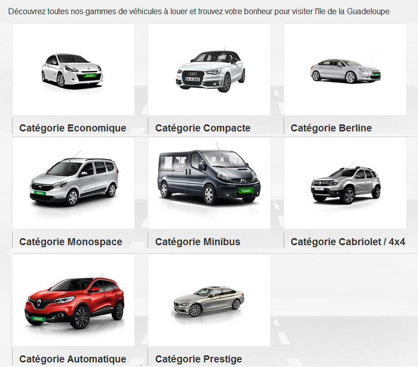 Europcar range of tourist and utility vehicles